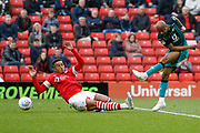 A shot by Swansea City forward Andre Ayew during the EFL Sky Bet Championship match between Barnsley and Swansea City at Oakwell, Barnsley, England on 19 October 2019.