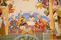 Ouzbekistan, Tashkent, place Tamerlan, Musée Tamerlan, détail d'une fresque représentant Tamerlan et sa cour // Uzbekistan, Tashkent, Tamerlan square, Tamerlan museum,  fresco