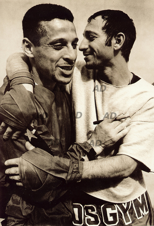 Stage of Kick boxing and Savate. The Franch Kamel Chouaref, 65kg World Champion of Kick Boxing 1999, hugs a student at the end of the stage...