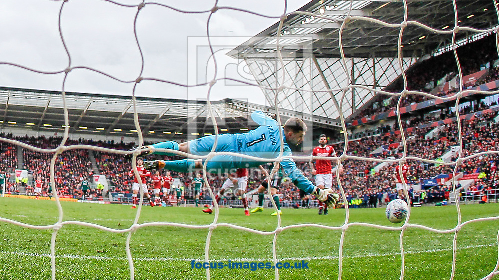 Neal Maupay of Brentford scores past Frank Fielding of Bristol City during the Sky Bet Championship match between Bristol City and Brentford at Ashton Gate, Bristol<br /> Picture by Mark D Fuller/Focus Images Ltd +44 7774 216216<br /> 02/04/2018