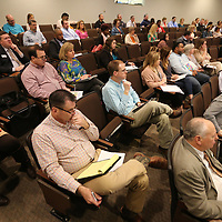 Northeast Mississippi area school administrators attend the eleventh annual Dropout Prevention Summit Friday morning at the Ole Miss Tupelo campus. Dr. Mimmo Parisi, Executive Director for nSPARC, spoke on the statistics to data approach to understanding dropouts, with other speakers such as Dr. Todd English, Booneville School District Superintendent, on a combined district of innovation along with Jason McKay, Baldwyn School District Superintendent.