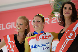 After winning the stage, Lucinda Brand (Rabo Liv) is the new race leader at the 121 km Stage 1 of the Lotto Belgium Tour 2016 on 7th September 2016 in Moorslede, Belgium. (Photo by Sean Robinson/Velofocus).