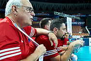 Katowice, Poland - 2017 September 01: (L) Famous trainer coach Waldemar Wspanialy attend in All Stars Game while Opening Ceremony during European Unified Volleyball Tournament 2017 at Spodek Hall on September 01, 2017 in Katowice, Poland.<br /> <br /> Adam Nurkiewicz declares that he has no rights to the image of people at the photographs of his authorship.<br /> <br /> Picture also available in RAW (NEF) or TIFF format on special request.<br /> <br /> Any editorial, commercial or promotional use requires written permission from the author of image.<br /> <br /> Image can be used in the press when the method of use and the signature does not hurt people on the picture.<br /> <br /> Mandatory credit:<br /> Photo by © Adam Nurkiewicz / Mediasport