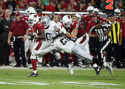 Arizona Cardinals running back Kerwynn Williams (33) runs the ball while being chased by Oakland Raiders strong safety Nate Allen (20) and diving Oakland Raiders outside linebacker Neiron Ball (58) during the 2016 NFL preseason football game against the Oakland Raiders on Friday, Aug. 12, 2016 in Glendale, Ariz. The Raiders won the game 31-10. (©Paul Anthony Spinelli)