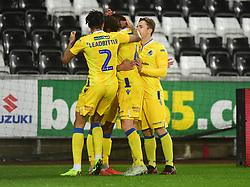Alex Jakubiak of Bristol Rovers is congratulated by his team mates. - Mandatory by-line: Alex James/JMP - 05/12/2018 - FOOTBALL - Liberty Stadium - Swansea, England - Swansea City U21 v Bristol Rovers - Checkatrade Trophy