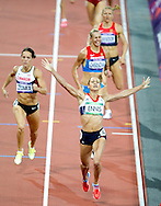 Jessica Ennis celebrates at the end of the 800m race, winning the gold medal in the Women's Heptathlon, at the Olympic Stadium, in London, during the London 2012 Olympic Games. BOGDAN MARAN / MEDIAFAX FOTO for BPA