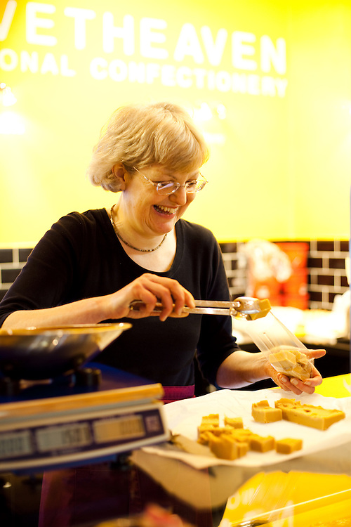 Marie Woodhouse produces and packages fudge in her shop, Velvet Heaven, in the Station, Richmond, Yorkshire.