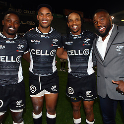 DURBAN, SOUTH AFRICA - JULY 15: Lwazi Mvovo with JP Pietersen Odwa Ndunganeand Tendai Beast Mtawarira during the Super Rugby match between the Cell C Sharks and Sunwolves at Growthpoint Kings Park on July 15, 2016 in Durban, South Africa. (Photo by Steve Haag/Gallo Images)