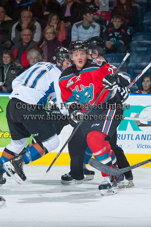 KELOWNA, CANADA - DECEMBER 7: Ryan Olsen #27 of the Kelowna Rockets skates against the Kootenay Ice on December 7, 2013 at Prospera Place in Kelowna, British Columbia, Canada.   (Photo by Marissa Baecker/Shoot the Breeze)  ***  Local Caption  ***