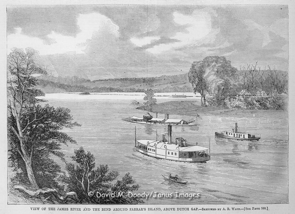 Civil War:  Ironclad Union Navy gunboats on James River at Farrar's Island above Dutch Gap, Virginia.  Illustration from Harper's Weekly September 18, 1864