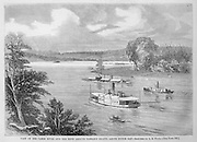 Civil War:  Ironclad Union Navy gunboats on James River at Farrar's Island above Dutch Gap, Virginia.  Illustration from Harper's Weekly September 18, 1864