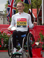 Susannah  Scaroni USA third place in the Elite Women's Wheelchair race. The Virgin Money London Marathon, 23rd April 2017.<br /> <br /> Photo: Jed Leicester for Virgin Money London Marathon<br /> <br /> For further information: media@londonmarathonevents.co.uk