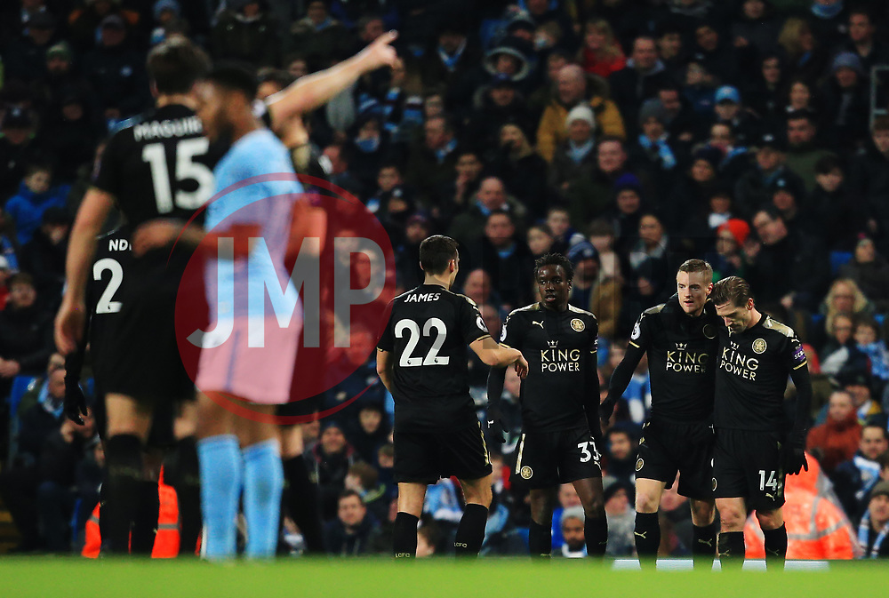Jamie Vardy of Leicester City celebrates after scoring the equalising goal to make it 1-1 - Mandatory by-line: Matt McNulty/JMP - 10/02/2018 - FOOTBALL - Etihad Stadium - Manchester, England - Manchester City v Leicester City - Premier League