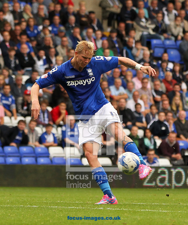 Brek Shea of Birmingham City shapes up to shoot during the Sky Bet Championship match at St Andrews, Birmingham<br /> Picture by Tom Smith/Focus Images Ltd 07545141164<br /> 27/09/2014