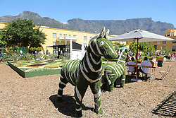 Grass sculpture of a zebra during the Cape Town Flower Show held at the Castle of Good Hope between the 27th and the 30th October 2016.<br /> <br /> Photo by Ron Gaunt/ RealTime Images
