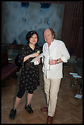 MIYAKO NARITA; RICHARD WILSON, Drinks party to launch this year's Frieze Masters.Hosted by Charles Saumarez Smith and Victoria Siddall<br />  Academicians' room - The Keepers House. Royal Academy. Piccadilly. London. 3 July 2014