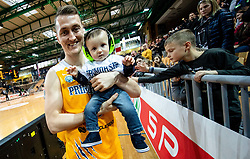 Jakob Cebasek of Sixt Primorska with his son after winning during basketball match between KK Sixt Primorska and KK Petrol Olimpija in semifinal of Spar Cup 2018/19, on February 16, 2019 in Arena Bonifika, Koper / Capodistria, Slovenia. Photo by Vid Ponikvar / Sportida