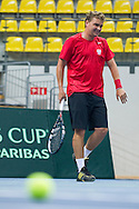 Marcin Matkowski of Poland while his training session two days before the BNP Paribas Davis Cup 2013 between Poland and South Africa at MOSiR Hall in Zielona Gora on April 03, 2013...Poland, Zielona Gora, April 03, 2013..Picture also available in RAW (NEF) or TIFF format on special request...For editorial use only. Any commercial or promotional use requires permission...Photo by © Adam Nurkiewicz / Mediasport