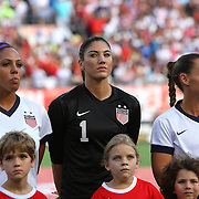 U.S. goalkeeper Hope Solo (1) stands in attention during introductions, prior to  a women's soccer International friendly match between Brazil and the United States National Team, at the Florida Citrus Bowl  on Sunday, November 10, 2013 in Orlando, Florida. The U.S won the game by a score of 4-1.  (AP Photo/Alex Menendez)