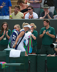 LONDON, ENGLAND - Monday, June 27, 2011: Caroline Wozniacki (DEN), the number one seed, leaved the court after being defeated during the Ladies' Singles 4th Round match on day seven of the Wimbledon Lawn Tennis Championships at the All England Lawn Tennis and Croquet Club. (Pic by David Rawcliffe/Propaganda)