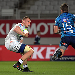 Sharks flanker Jean-Luc du Preez heads for the tryline during the Super Rugby match between the Blues and Sharks at Eden Park in Auckland, New Zealand on Saturday, 31 March 2018. Photo: Dave Lintott / lintottphoto.co.nz