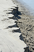 Where the Ogunquit River joins the Gulf of Maine, it flows across the beach at low tide. The strong current produces distinctive erosion patterns in the beach sand.