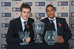 CARDIFF, WALES - Wednesday, November 11, 2009: Wales' Ashley Williams (R) with the Welsh Player of the Year and Welsh Club Player of the Year trophies and Aaron Ramsey who won the Welsh Young Player of the Year during the Football Association of Wales Player of the Year Awards hosted by Brains SA at the Cardiff City Stadium. (Pic by David Rawcliffe/Propaganda)