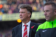 Manchester United Manager Louis van Gaal during the Barclays Premier League match between Crystal Palace and Manchester United at Selhurst Park, London, England on 31 October 2015. Photo by Phil Duncan.