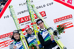 Second placed AMMANN Simon of Switzerland, Winner Robert Kranjec of Slovenia and third placed KOCH Martin of Austria celebrate at flower ceremony after the Flying Hill Individual competition at 2nd day of FIS Ski Jumping World Cup Finals Planica 2012, on March 16, 2012, Planica, Slovenia. (Photo by Vid Ponikvar / Sportida.com)