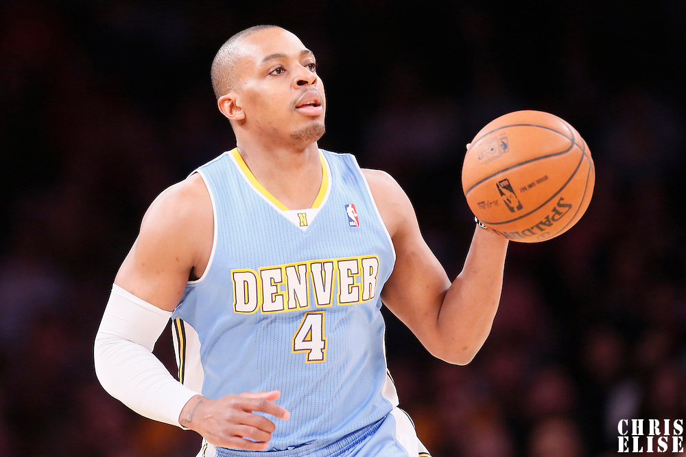 05 January 2014: Denver Nuggets shooting guard Randy Foye (4) brings the ball upcourt during the Denver Nuggets  137-115 victory over the Los Angeles Lakers at the Staples Center, Los Angeles, California, USA.
