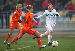 Mandy van den Berg of Netherlands vs Kaja Jerina of Slovenia during football match between Women national teams of Slovenia and Netherlands in 4th Round of EURO 2013 Qualifications, on November 19, 2011 in Ivancna Gorica, Slovenia. Netherlands defeated Slovenia 2-0. (Photo By Vid Ponikvar / Sportida.com)