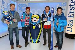 10.12.2013, Olympiahalle, Muenchen, GER, ARD und ZDF Olympia in Sochi, im Bild vl Dieter Thoma (TV-Experte ARD/BR), Kati Wilhelm (TV-Experte ARD/BR), Markus Wasmeier (TV-Experte ARD/BR), Peter Schlickenrieder (TV-Experte ARD/BR) bei der ARD/ZDF Olympia-PressekonferenzARD, ZDF werden, enger Zusammenarbeit von den XXII Olympischen Winterspielen vom 7 2 -23 2  2014, Sotschi mit einem vielfaeltigen Live-Angebot berichten. EXPA Pictures © 2013, PhotoCredit: EXPA/ Eibner-Pressefoto/ Stuetzle<br /> <br /> *****ATTENTION - OUT of GER*****