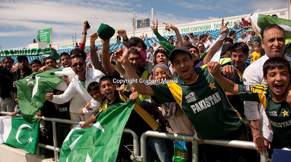 Pakistan supporters celebrate winning the second MCC Spirit of Cricket Test Match against Australia at Headingley, Leeds.  Photo: Graham Morris (Tel: +44(0)20 8969 4192 Email: sales@cricketpix.com) 24/07/10