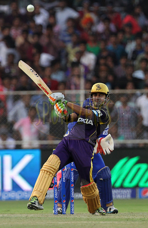 Gautam Gambhir captain of the Kolkata Knight Riders plays a shot during match 25 of the Pepsi Indian Premier League Season 2014 between the Rajasthan Royals and the Kolkata Knight Riders held at the Sardar Patel Stadium, Ahmedabad, India on the 5th May  2014<br /> <br /> Photo by Vipin Pawar / IPL / SPORTZPICS      <br /> <br /> <br /> <br /> Image use subject to terms and conditions which can be found here:  http://sportzpics.photoshelter.com/gallery/Pepsi-IPL-Image-terms-and-conditions/G00004VW1IVJ.gB0/C0000TScjhBM6ikg