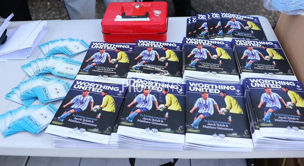 The Matchday programme before the FA Vase 1st Qualifying Round match between Worthing United and East Preston FC at the Robert Eaton Memorial Ground, Worthing, United Kingdom on 6 September 2015. Photo by Phil Duncan.