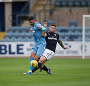 Dundee's Kerr Waddell tackles Bolton Wanderers' Gary Madine - Dundee v Bolton Wanderers pre-season friendly at Dens Park, Dundee, Photo: David Young<br /> <br />  - © David Young - www.davidyoungphoto.co.uk - email: davidyoungphoto@gmail.com