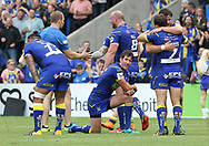 Stefan Ratchford of Warrington Wolves and his team mates celebrate winning the Ladbrokes Challenge Cup Quarter Final match against Wigan Warriors at the Halliwell Jones Stadium, Warrington.<br /> Picture by Michael Sedgwick/Focus Images Ltd +44 7900 363072<br /> 02/06/2018