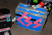 CSS equipment cases labeled with pink sellotape, CSS gig, February 2007