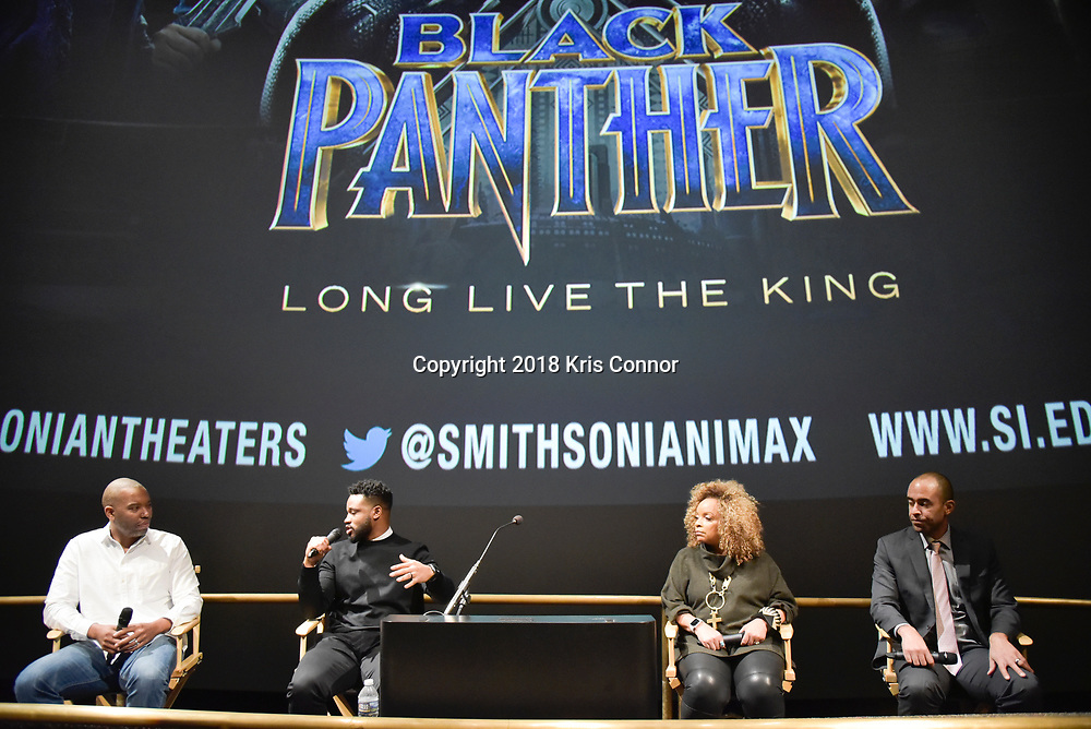 Director Ryan Coogler, costume designer Ruth Carter, executive producer Nate Moore, join moderator  Ta-Nehisi Coates in discussion following a special advance screening of &ldquo;Black Panther&rdquo; on Sunday, February 11 for Howard University students at the National Air and Space Museum in Washington, D.C.<br />  (Kris Connor for Disney)