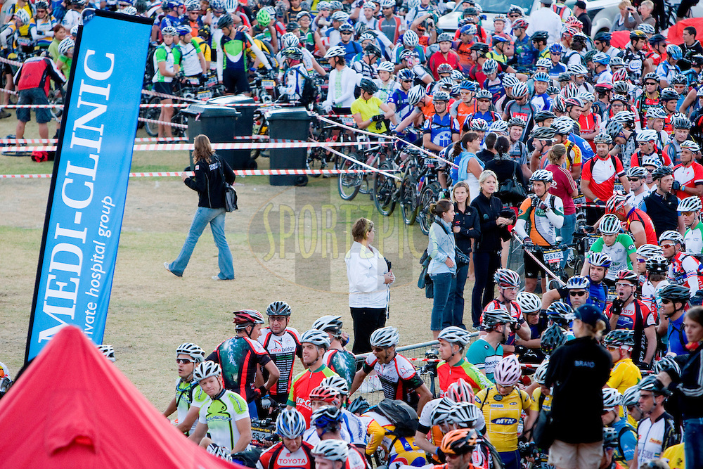 VILLIERSDORP, SOUTH AFRICA - Riders wait for their start of stage two , 2 , of the Absa Cape Epic Mountain Bike Stage Race held in Villiersdorp on the 23 March 2009 in the Western Cape, South Africa..Photo by Nick Muzik  /SPORTZPICS