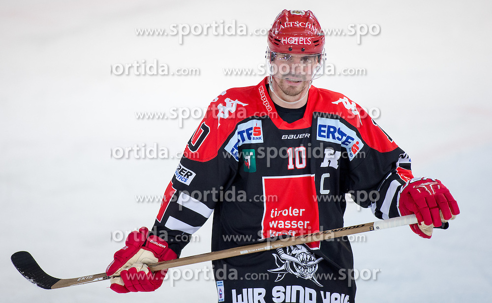 02.02.2016, Tiroler Wasserkraft Arena, Innsbruck, AUT, EBEL, HC TWK Innsbruck die Haie vs Fehervar AV 19, Qualifikationsrunde, im Bild Partick Moessmer (HC TWK Innsbruck Die Haie) // during the Erste Bank Icehockey qualification round match between HC TWK Innsbruck  die Haie and Fehervar AV 19 at the Tiroler Wasserkraft Arena in Innsbruck, Austria on 2016/02/02, EXPA Pictures © 2016, PhotoCredit: EXPA/ Jakob Gruber
