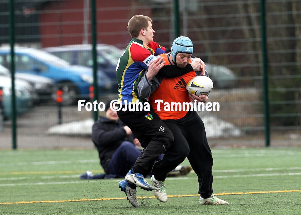 28.4.2012, Tampere, Finland..SRL 7's 2012. .Linna Rugby - Jyvskyl Rugby