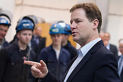 © Licensed to London News Pictures . 16/05/2013 . Altrincham , UK . The British Deputy Prime Minister , NICK CLEGG , meets apprentices during a visit to the The Cartwright Group factory in Altrincham , Greater Manchester , today (Thursday 16th May 2013) . The visit to the Cartwright Group , who manufacture trucks , trailers and ambulances , follows an investment from the Regional Growth Fund . Photo credit : Joel Goodman/LNP