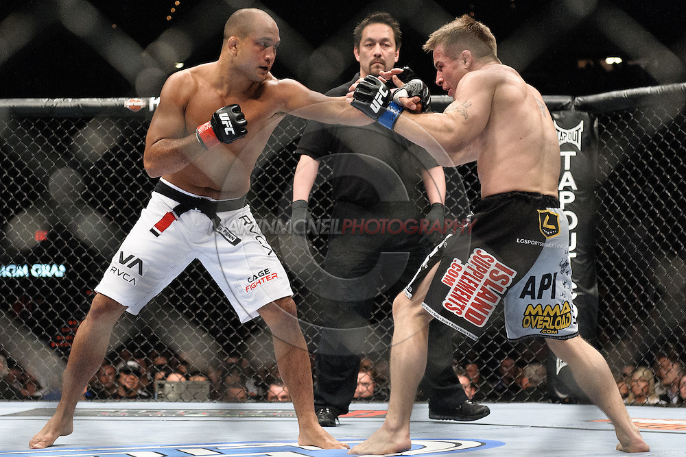 "LAS VEGAS, NEVADA, MAY 24, 2008: BJ Penn (left) throws a left jab towards Sean Sherk during ""UFC 84: Ill Will"" inside the MGM Grand Garden Arena in Las Vegas"