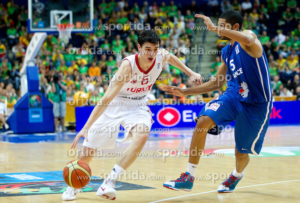 Emir Preldzic of Turkey vs Joakim Noah of France during basketball game between National basketball teams of Turkey and France at FIBA Europe Eurobasket Lithuania 2011, on September 7, 2011, in Siemens Arena,  Vilnius, Lithuania.France defeated Turkey 68-64. (Photo by Vid Ponikvar / Sportida)