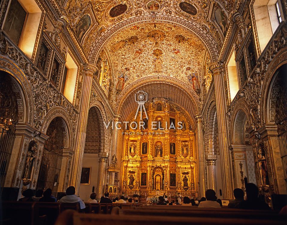 Interior detail of Santo Domingo de Guzman convent. Oaxaca, Mexico.