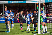 Dani Bowman (Capt) (Brighton) organising her team in the goal mouth prior to a corner kick from Chelsea during the FA Women's Super League match between Brighton and Hove Albion Women and Chelsea at The People's Pension Stadium, Crawley, England on 15 September 2019.
