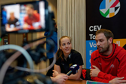 06–01-2020 NED: CEV Tokyo Volleyball European Qualification Women, Apeldoorn<br /> Press moment and representatives of the eight national teams for one spot Tokyo 2020 / Head Coach Felix Koslowski of Germany, Denise Hanke #3 of Germany