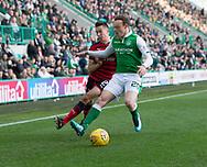 4th November 2017, Easter Road, Edinburgh, Scotland; Scottish Premiership football, Hibernian versus Dundee; Dundee's Cammy Kerr battles for the ball with Hibernian's Brandon Barker