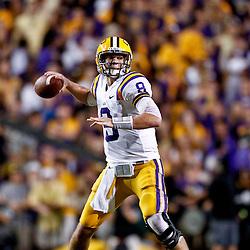 November 3, 2012; Baton Rouge, LA, USA; LSU Tigers quarterback Zach Mettenberger (8) against the Alabama Crimson Tide during a game at Tiger Stadium. Alabama defeated LSU 21-17. Mandatory Credit: Derick E. Hingle-US PRESSWIRE